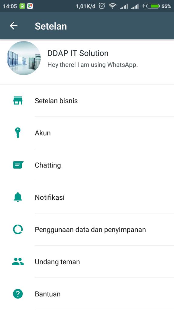 Menu Aplikasi Chat Whatsapp Business